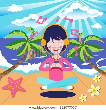 Happy Girl With Headphones Listening To The Music In Seaside Beach. Vector Illustration Flat Cartoon