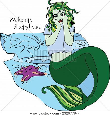 Sleepy Mermaid With Sea Star. Cartoon Characters, Isolated On White, Set.