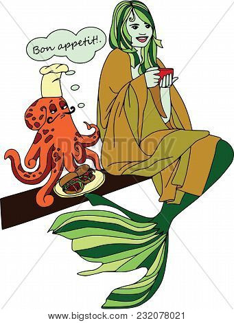 Octopus Cooking For Mermaid, Bon Appetit. Cartoon Characters, Set.