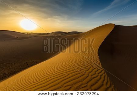 beatiful landscape in Sahara desert at sunset