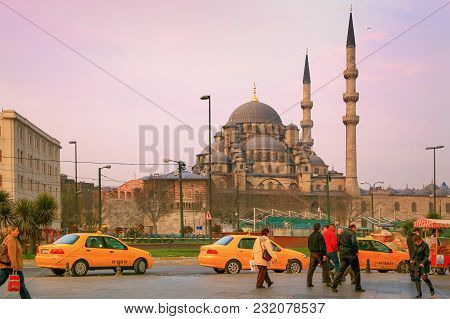 Istanbul, Turkey - March 26, 2012: New Mosque In Early Morning.