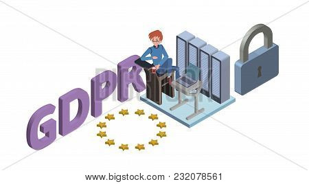 Gdpr Concept Isometric Illustration. General Data Protection Regulation. The Protection Of Personal