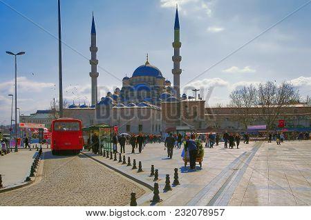 Istanbul, Turkey - March 27, 2012: Yeni Cami Mosque.