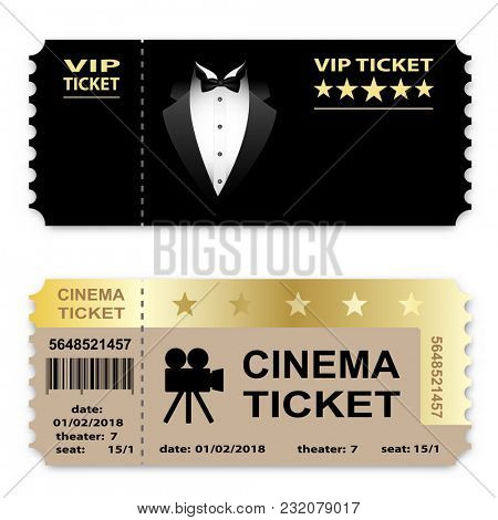 illustration Cinema, Business vip tickets isolated on white background. Coupon icon.