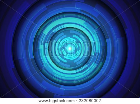 Abstract Blue Circle Technology Power Energy Light Design Modern Futuristic Background Vector Illust