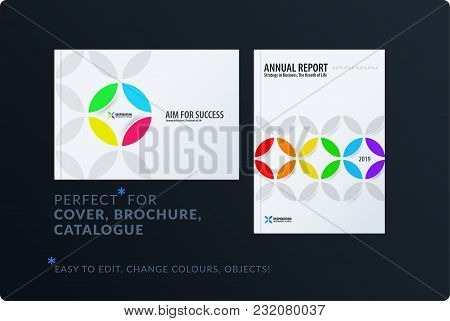 Creative Design Of Brochure Set, Abstract Annual Report, Horizontal Cover, Flyer In A4 With Colourfu