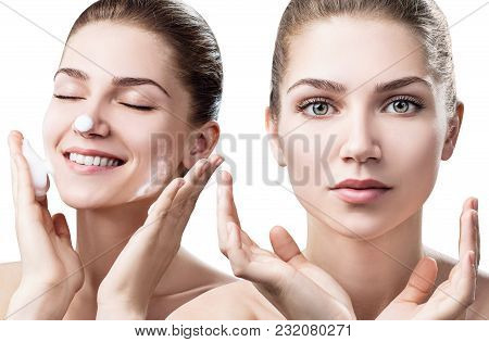 Collage Of Young Woman Cleanses Skin With Foam Isolated On White. Skincare Concept.