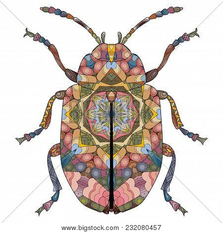 Beetle Zentangle Styled For T - Shirt Design, Tattoo And Other Decorations