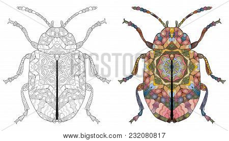 Beetle Zentangle Styled For T - Shirt Design, Tattoo And Other Decorations. Bug For Coloring And Pai