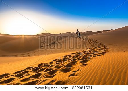 Merzouga In The Sahara Desert In Morocco