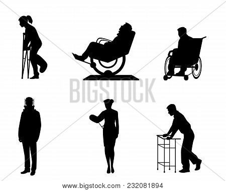 Vector Illustration Of Six Silhouettes Of Sick People