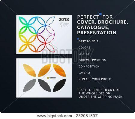 Presentation. Abstract Vector Set Of Modern Horizontal Templates With Colourful Yellow Circle Segmen