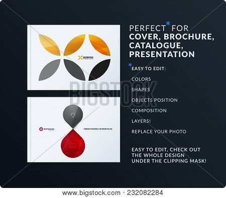 Presentation. Abstract Vector Set Of Modern Horizontal Templates With Colourful Red Circle Segments,