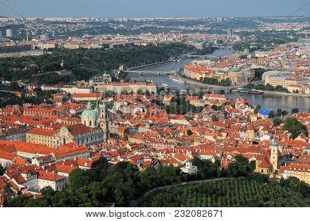 Aerial View Over Old Town, Vltava River, Mala Strana District In Prague, Czech Republic