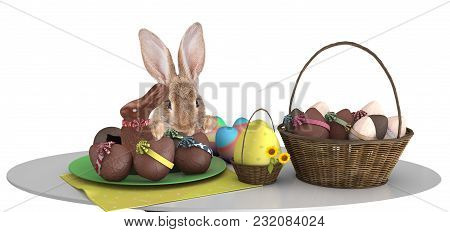 Cute Bunny Make An Effort Above Table And Looking To The Easter Eggs