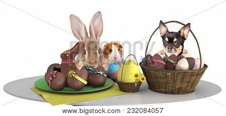 Cute Pets Make An Effort Above Table And Looking To The Easter Eggs