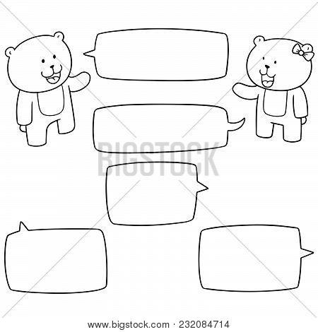 Vector Set Of Bear Talking Hand Drawn Cartoon