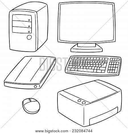 Vector Set Of Computer Equipment Hand Drawn Cartoon