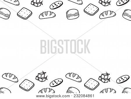 Hand-draw Doodle Bakery With Copyspace. Vector Illustration. A4 Paper Size.