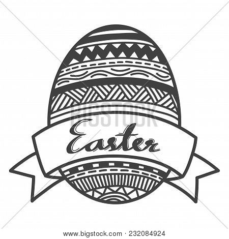 Hand-drawn Doodle Easter Festival. Egg With Many Line Patterns And Banner. Vector Illustration.