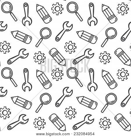 Hand-draw Learns And Develops Seamless Doodle Background. Vector Illustration.