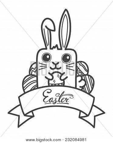Hand-drawn Doodle Easter Festival With Banner And Text. Vector Illustration.