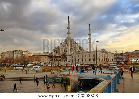 Istanbul, Turkey - March 28, 2012: Evening View Of New Mosque.