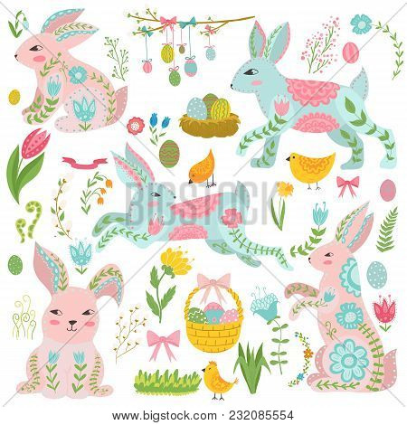 Vintage Elements Set Of Easter Theme. Rabbits, Eggs, Ribbons And Others Symbols. Easter Eggs And Rab