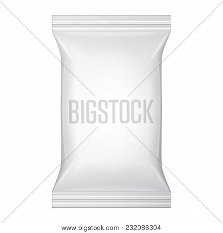 White Blank Wet Wipes Bag Packaging. Hygiene, Cleanliness, Disinfectant, Antibacterial. Plastic Pack Template Ready For Your Design. Vector EPS10 poster