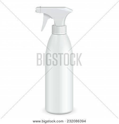 Spray Pistol Cleaner Plastic Bottle White. Illustration Isolated On White Background. Ready For Your