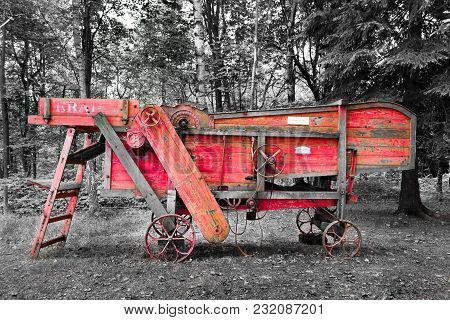 Old Agricultural Thresher Machine Near The Village Prichovice In Czech Republic - Selective Color