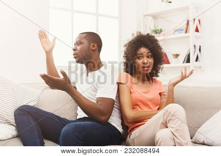 Young African-american Couple Quarreling At Home, Offended At Each Other . Family Relationship Diffi