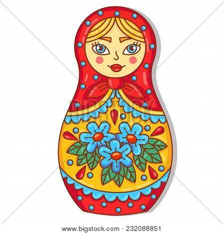 Matreshka Russian Traditional Doll Doodle Colorful Cute Vector Illustration