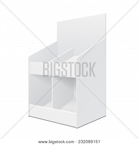 White Display Holder Box Stand Pos Poi Cardboard Blank Empty. Products On White Background Isolated.