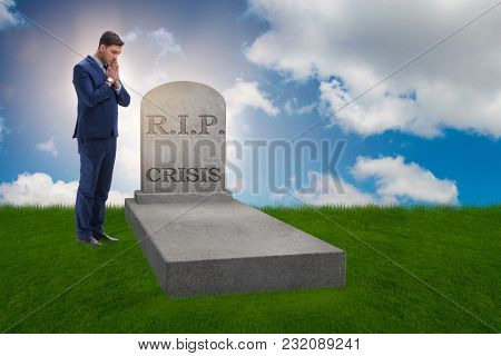 Businessman mourning the crisis in economy