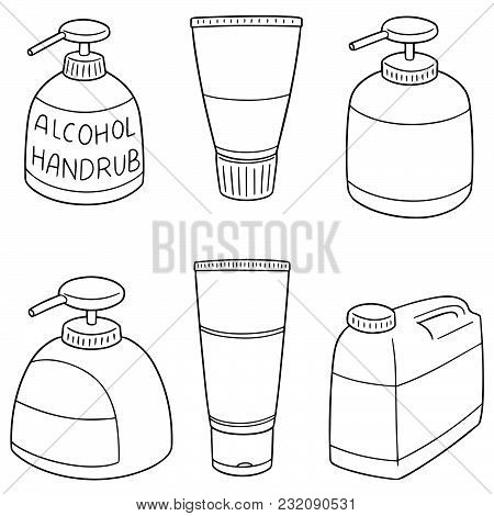 Vector Set Of Alcohol Hand Rub Hand Drawn Cartoon