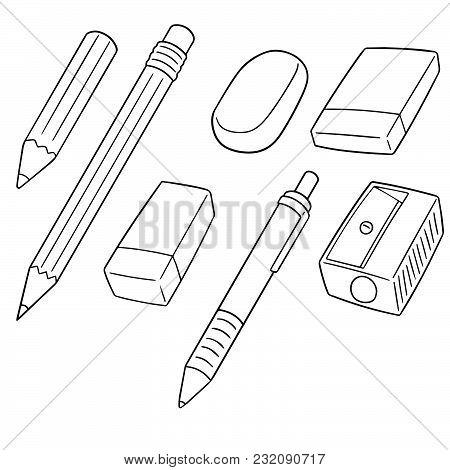 Vector Set Of Pencil, Eraser And Pencil Sharpener