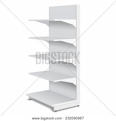 White Blank Empty Showcase Displays With Retail Shelves Products 3d On White Background Isolated. Re