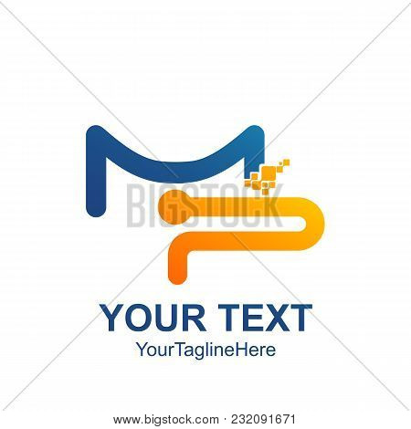 Initial Letter Mp Logo Template Colored Blue Yellow Digital Pixel Design For Business And Company Id