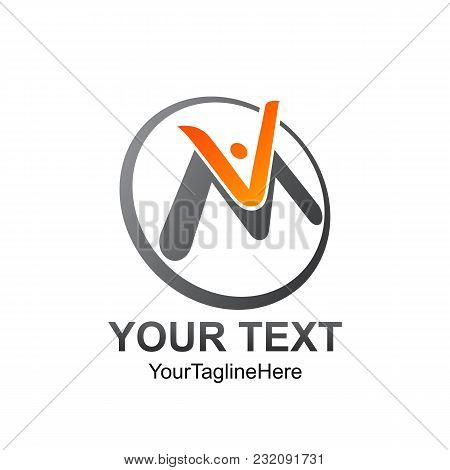 Initial Letter Vm Logo Template Colored Orange Grey Circle Man Design For Business And Company Ident