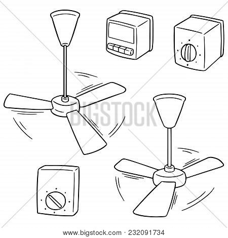 Vector Set Of Ceiling Fan And Fan Switch Hand Drawn Cartoon