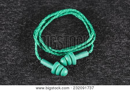 Rubber Ear Plugs For Noise Isolation. Green Ear Plug With Cord