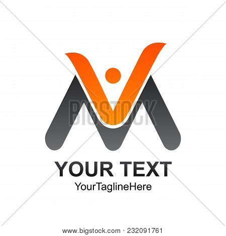 Initial Letter Vm Logo Template Colored Orange Grey Human Design For Business And Company Identity