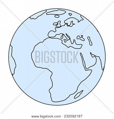 World Globe Icon. Vector Earth Logo. Line Web Global Symbol