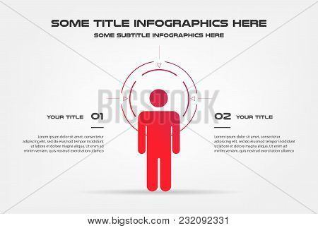 Target Infographics With Circle. Element Of Chart, Graph, Diagram With 2 Options - Parts, Processes,