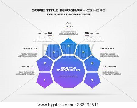 Chart Of Percentage Infographics. Element Of Graph, Diagram With 7 Options - Parts, Processes, Timel