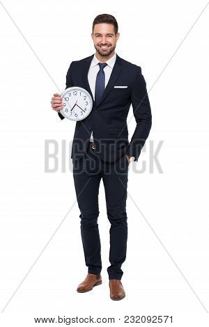 Young Stylishg Businessman With Teeth Smile Holding Clock, Isolated On White
