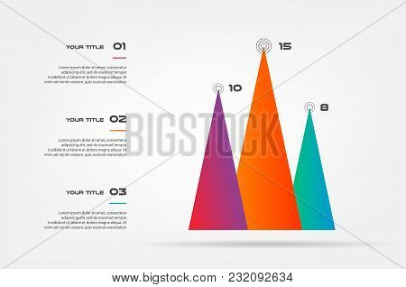 Pyramids Infographic Concept. Vector Template With 3 Options, Parts, Stages, Buttons. Can Be Used Fo