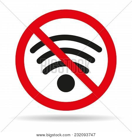No Wifi Sign On White Background. Vector Illustration