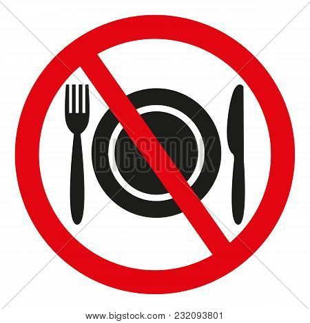 No Food Sign On White Background. Vector Illustration